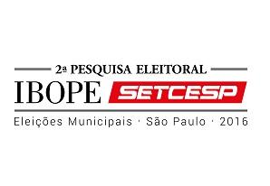 2ª Pesquisa IBOPE/SETCESP aborda intenções de voto para prefeitura de São Paulo