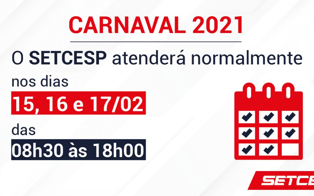 SETCESP terá expediente normal no período de Carnaval