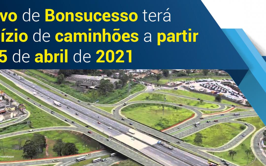 Rodízio de caminhões no Trevo de Bonsucesso começou hoje