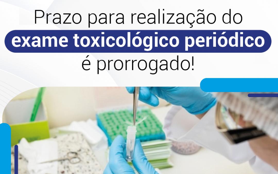 Prorrogada a realização do exame toxicológico periódico